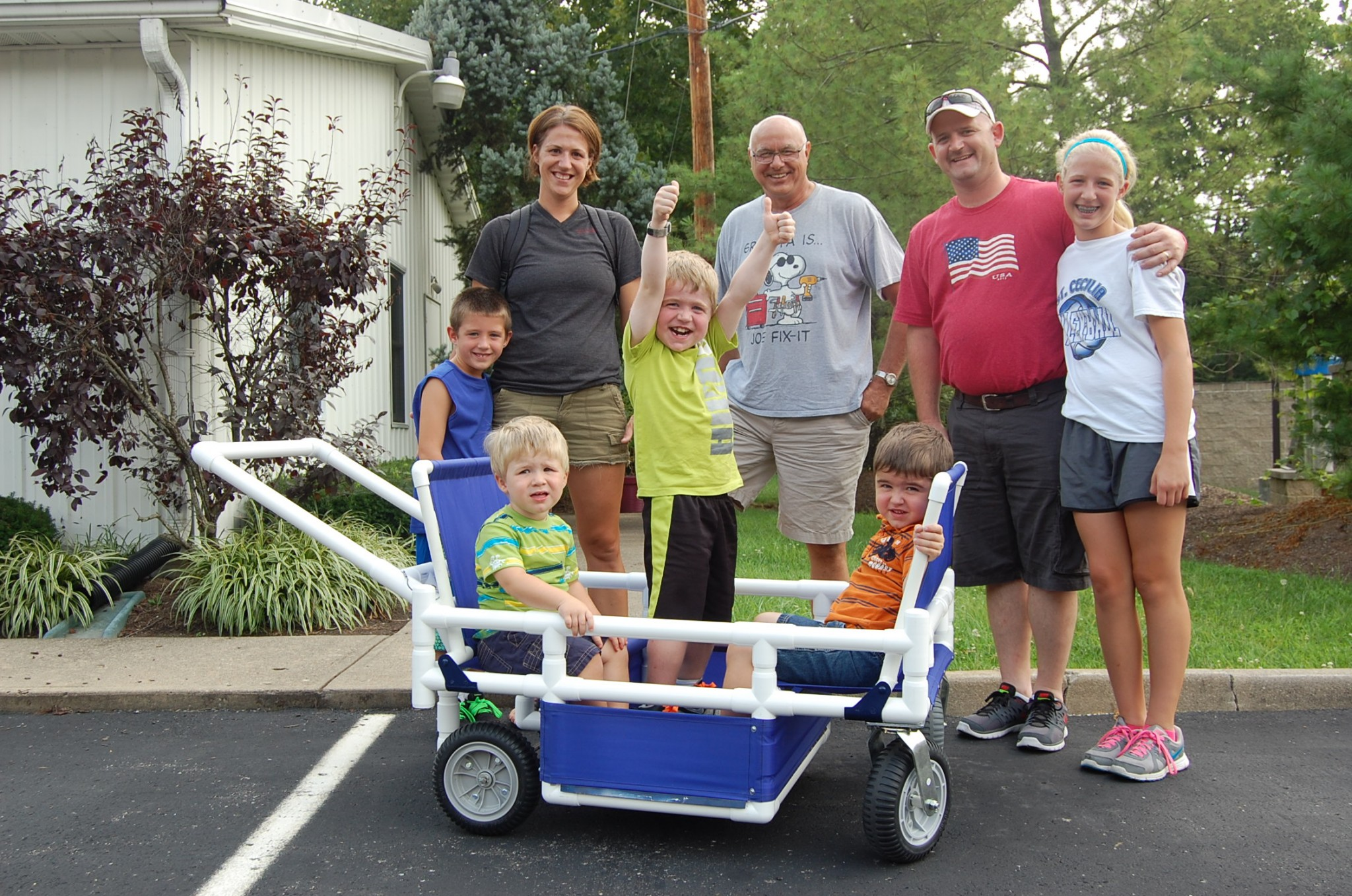 The Vertin family with modular stroller