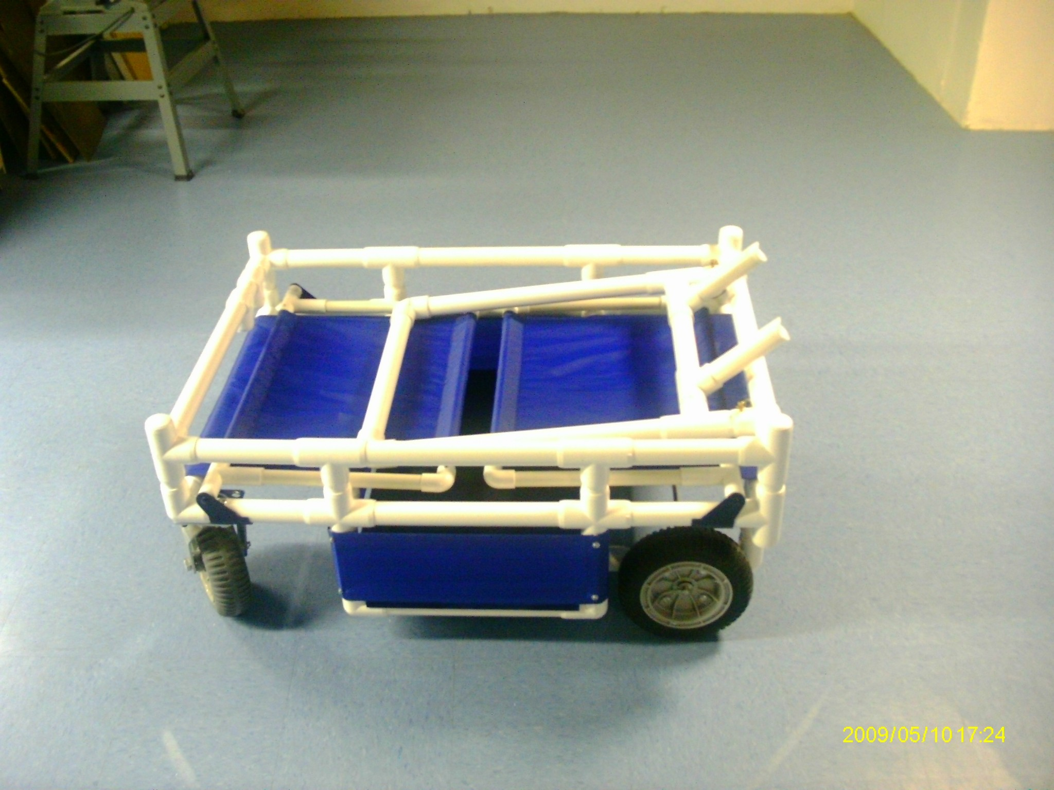 Folded up modular stroller