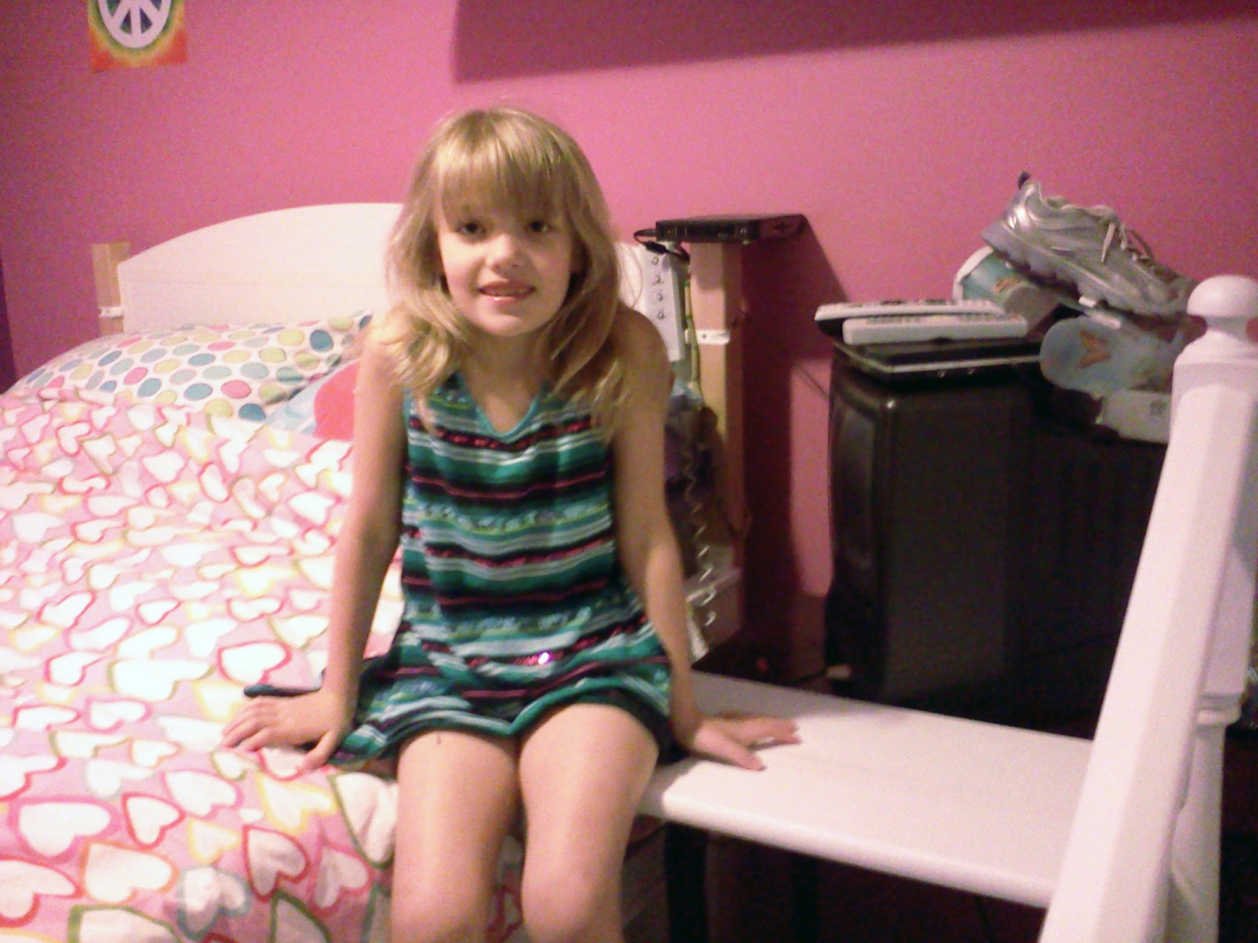 Young girl with new accessible bed steps