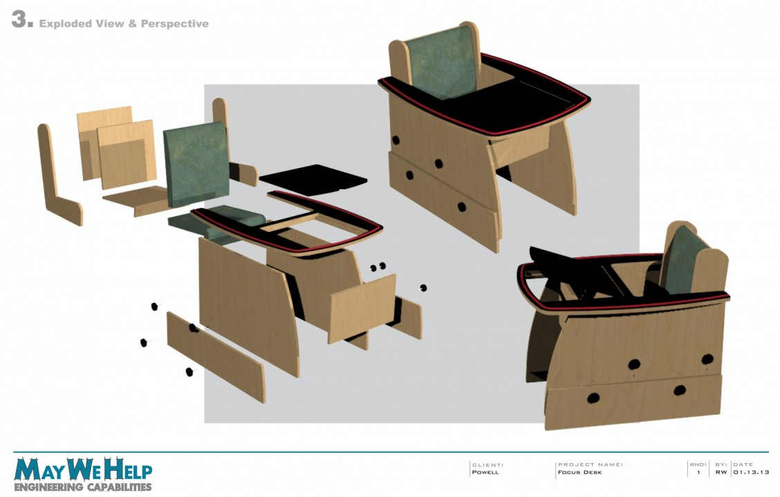 The exploded drawings for the focus desk