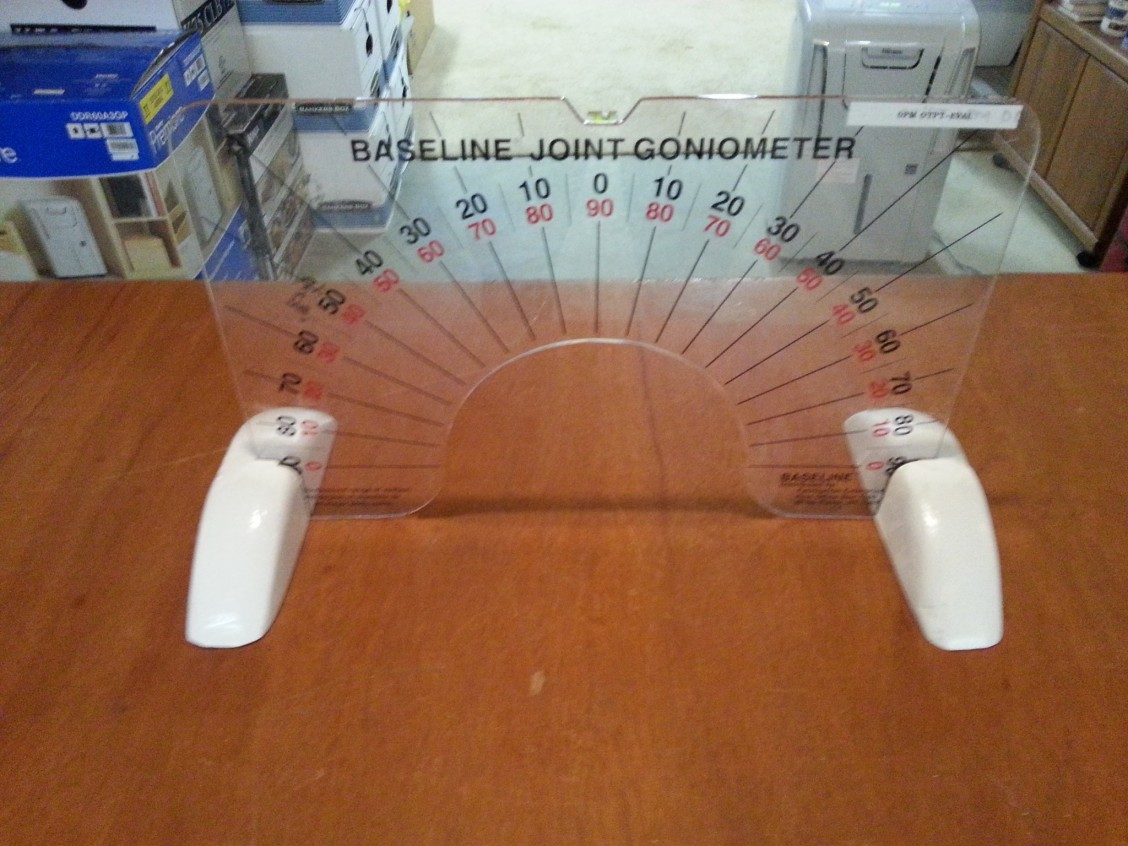 Front view of hands-free goniometer holder for Children's Hospital