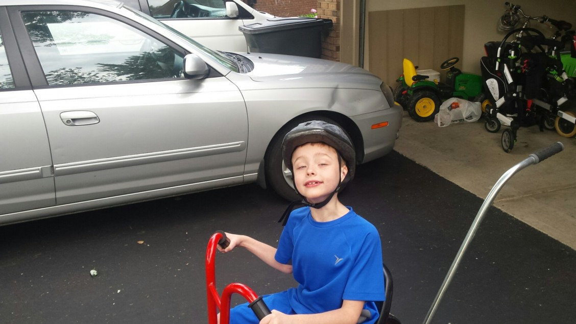 William proud of his modified Winther tricycle