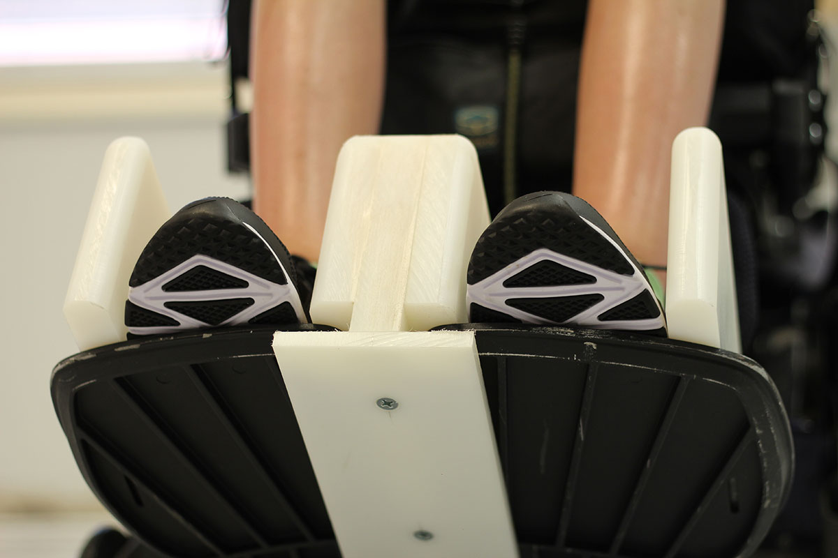 Closeup footrest wheelchair adaptation