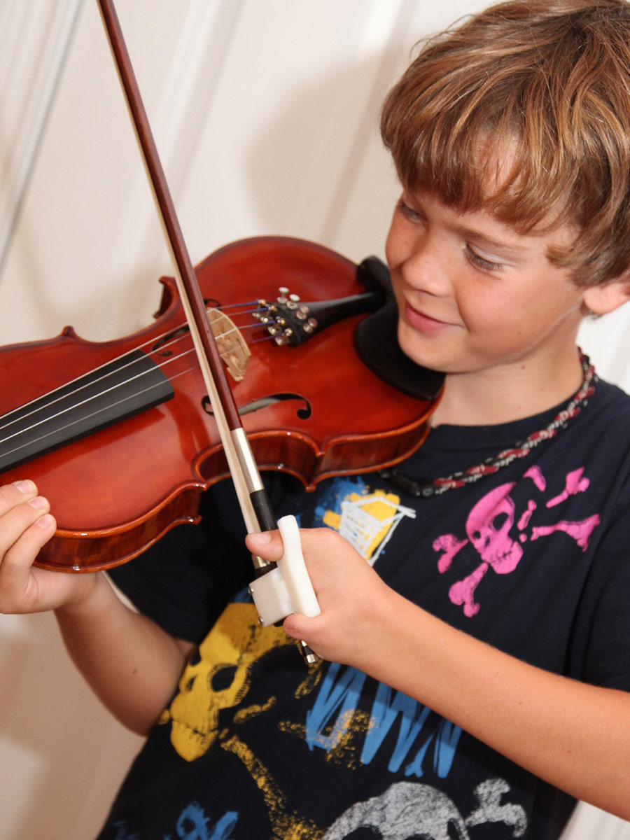 Jack Playing violin with custom bow holder